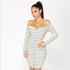 Stripe  Midi Dress - Ivory/Black(never worn w/tags